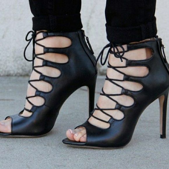 Zara Black Leather Lace Up Heels